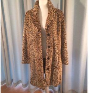 Liz Claiborne Faux Leopard Fur Coat Size L